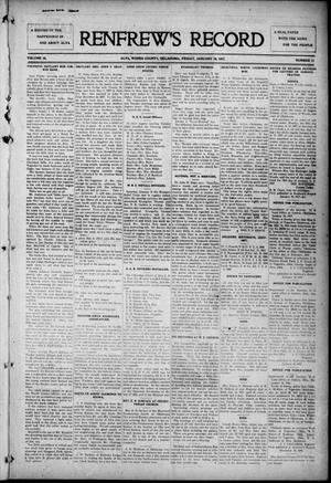 Primary view of object titled 'Renfrew's Record (Alva, Okla.), Vol. 16, No. 11, Ed. 1 Friday, January 19, 1917'.