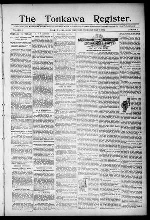 Primary view of object titled 'The Tonkawa Register. (Tonkawa, Okla. Terr.), Vol. 2, No. 1, Ed. 1 Thursday, May 21, 1896'.