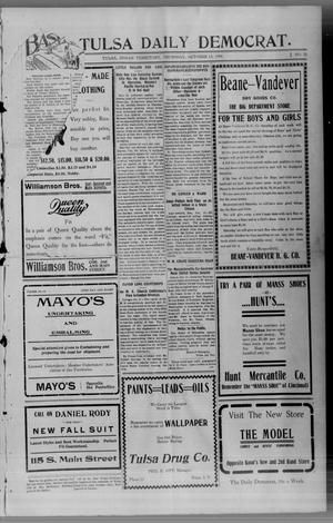 Primary view of object titled 'The Tulsa Daily Democrat. (Tulsa, Indian Terr.), Vol. 1, No. 15, Ed. 1 Thursday, October 13, 1904'.