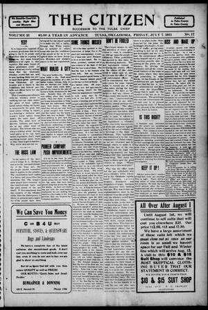 Primary view of object titled 'The Citizen (Tulsa, Okla.), Vol. 11, No. 16, Ed. 1 Friday, July 7, 1911'.