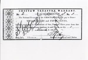 Primary view of Choctaw Treasury Warrant