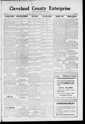 Cleveland County Enterprise. (Norman, Okla.), Vol. 19, No. 28, Ed. 1 Thursday, January 12, 1911