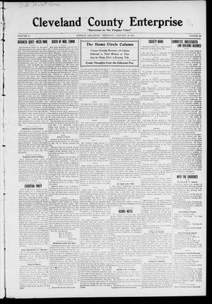 Primary view of object titled 'Cleveland County Enterprise. (Norman, Okla.), Vol. 19, No. 30, Ed. 1 Thursday, January 26, 1911'.