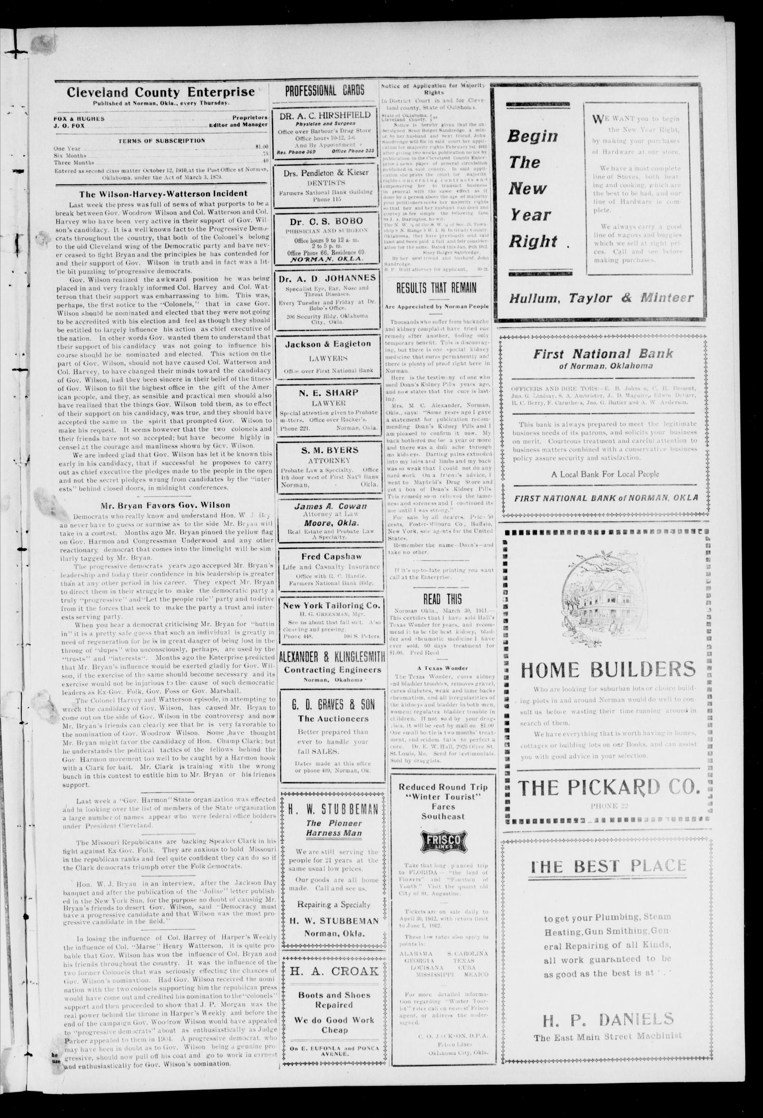 Cleveland County Enterprise. (Norman, Okla.), Vol. 20, No. 30, Ed. 1 Thursday, January 25, 1912                                                                                                      [Sequence #]: 5 of 10