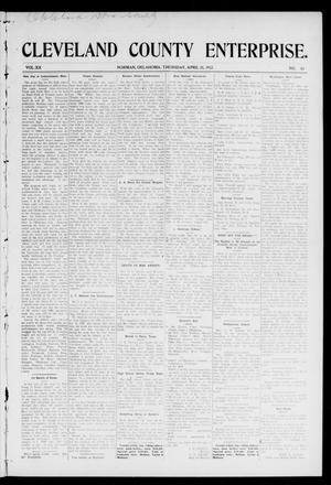 Primary view of object titled 'Cleveland County Enterprise. (Norman, Okla.), Vol. 20, No. 43, Ed. 1 Thursday, April 25, 1912'.