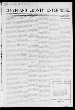Cleveland County Enterprise. (Norman, Okla.), Vol. 22, No. 4, Ed. 1 Thursday, July 31, 1913