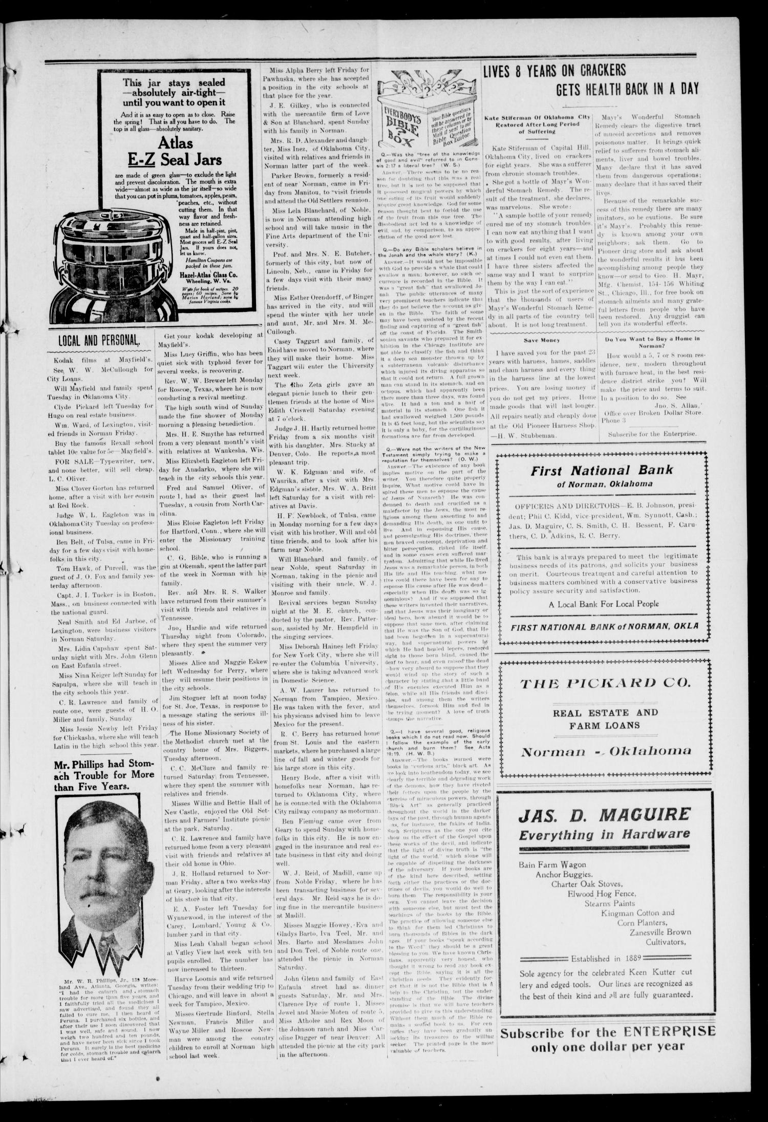 Cleveland County Enterprise. (Norman, Okla.), Vol. 23, No. 11, Ed. 1 Thursday, September 17, 1914                                                                                                      [Sequence #]: 3 of 4