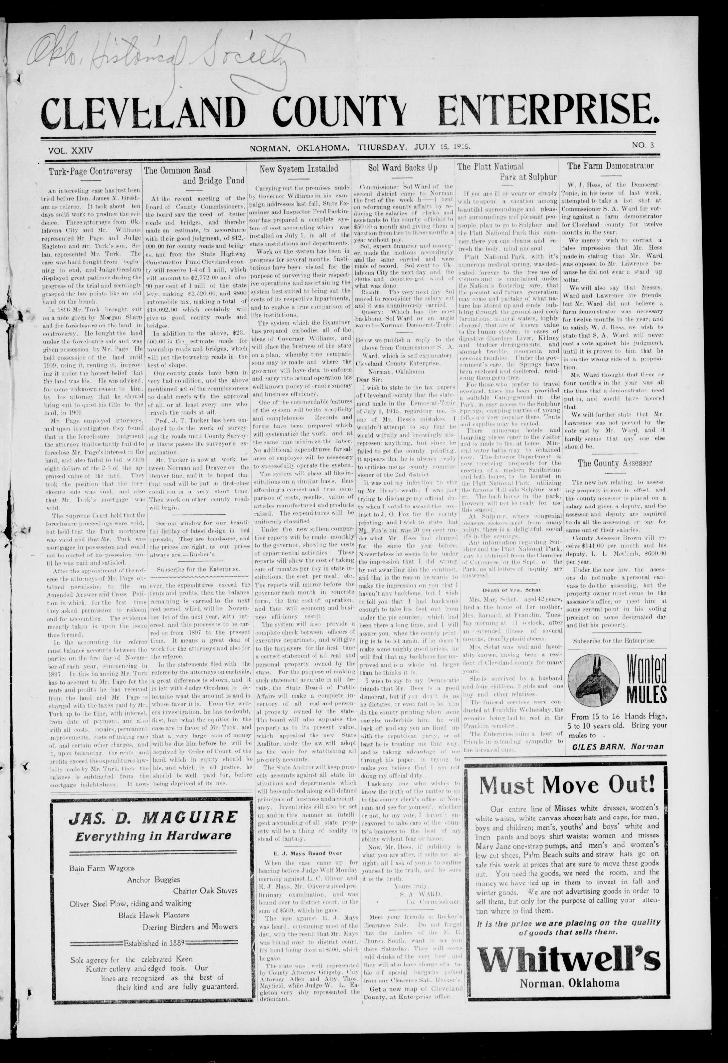Cleveland County Enterprise. (Norman, Okla.), Vol. 24, No. 2, Ed. 1 Thursday, July 15, 1915                                                                                                      [Sequence #]: 1 of 8