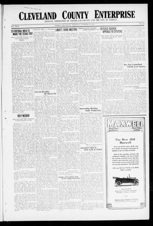 Primary view of object titled 'Cleveland County Enterprise (Norman, Okla.), Vol. 26, No. 16, Ed. 1 Thursday, October 18, 1917'.