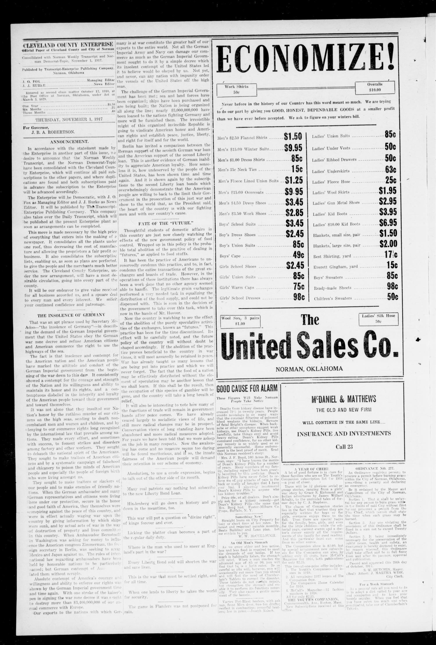 Cleveland County Enterprise (Norman, Okla.), Vol. 26, No. 18, Ed. 1 Thursday, November 1, 1917                                                                                                      [Sequence #]: 4 of 8