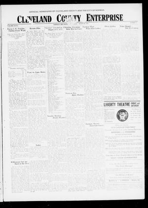 Primary view of object titled 'Cleveland County Enterprise (Norman, Okla.), Vol. 27, No. 38, Ed. 1 Wednesday, March 20, 1918'.