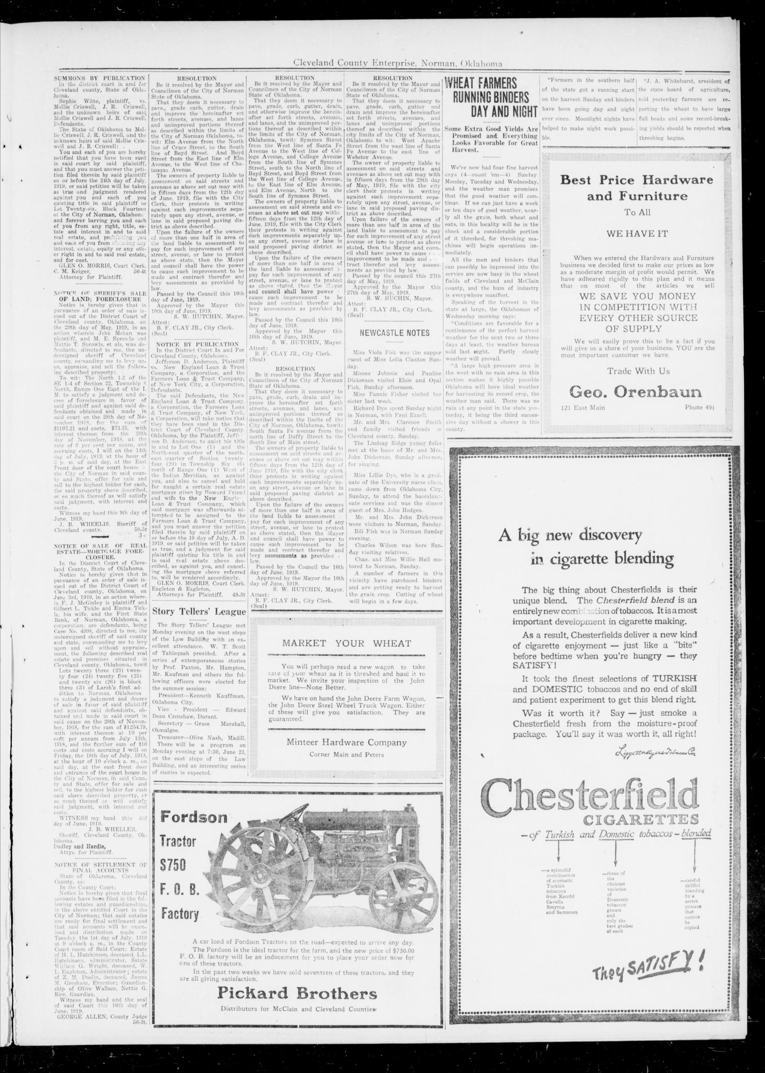 Cleveland County Enterprise (Norman, Okla.), Vol. 27, No. 51, Ed. 1 Wednesday, June 19, 1918                                                                                                      [Sequence #]: 3 of 4