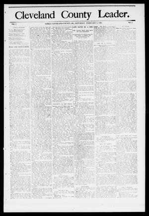 Primary view of object titled 'Cleveland County Leader. (Noble, Okla.), Vol. 1, No. 4, Ed. 1 Saturday, January 28, 1893'.