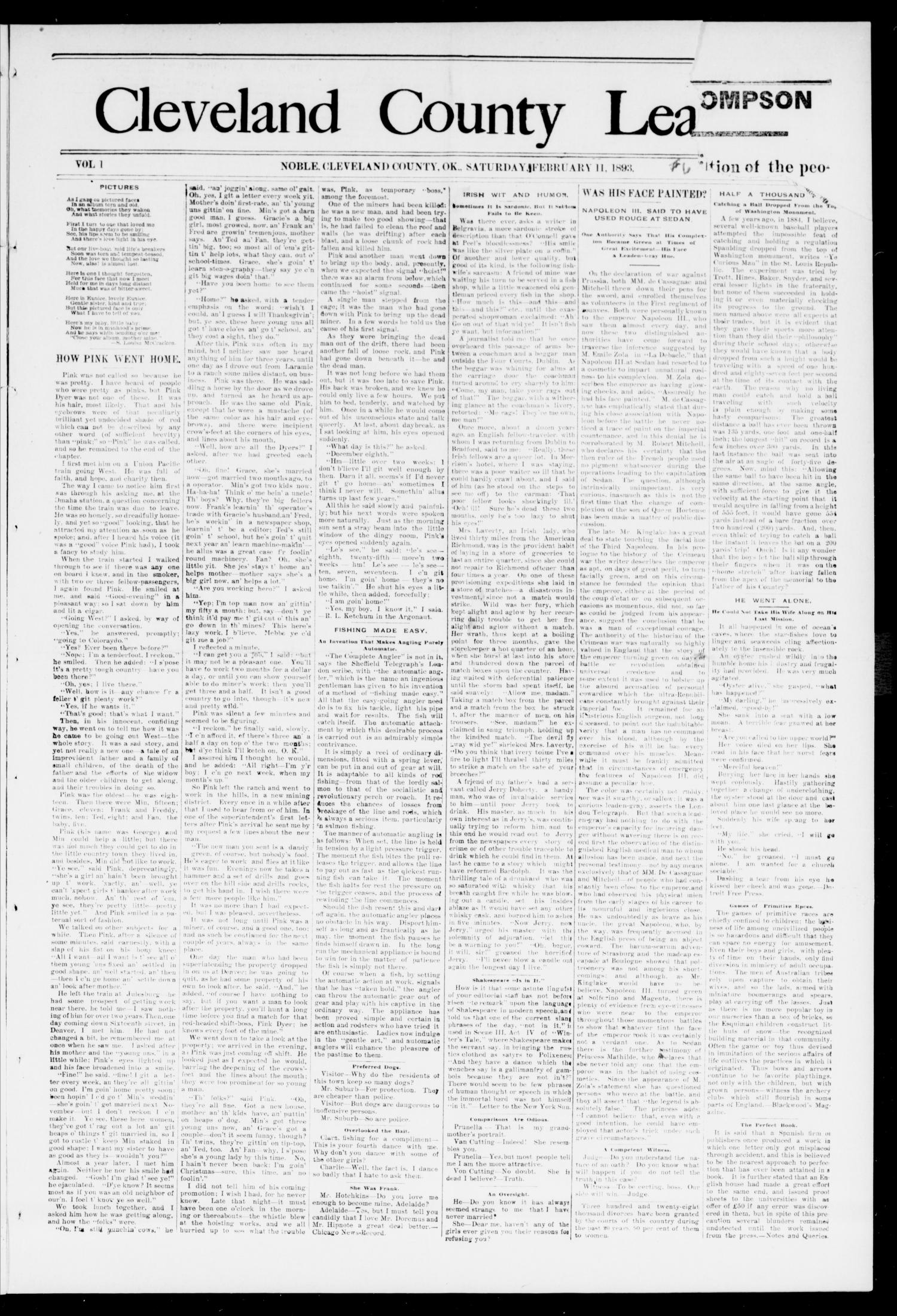 Cleveland County Leader. (Noble, Okla.), Vol. 1, No. 5, Ed. 1 Saturday, February 4, 1893                                                                                                      [Sequence #]: 1 of 8