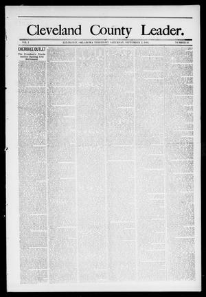 Primary view of object titled 'Cleveland County Leader. (Lexington, Okla.), Vol. 1, No. 35, Ed. 1 Saturday, September 2, 1893'.