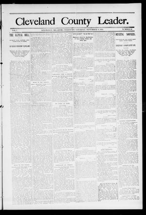Primary view of object titled 'Cleveland County Leader. (Lexington, Okla.), Vol. 1, No. 36, Ed. 1 Saturday, September 9, 1893'.