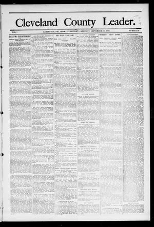 Primary view of object titled 'Cleveland County Leader. (Lexington, Okla.), Vol. 1, No. 39, Ed. 1 Saturday, September 30, 1893'.