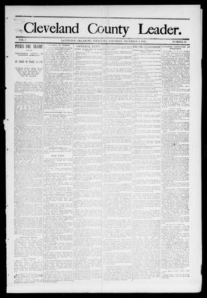 Primary view of object titled 'Cleveland County Leader. (Lexington, Okla.), Vol. 1, No. 49, Ed. 1 Saturday, December 9, 1893'.