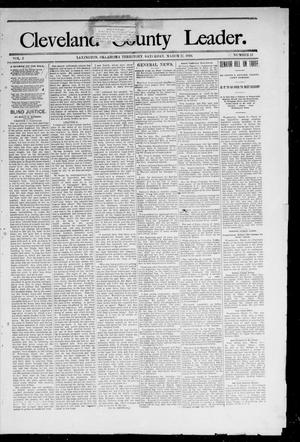 Primary view of object titled 'Cleveland County Leader. (Lexington, Okla.), Vol. 2, No. 11, Ed. 1 Saturday, March 17, 1894'.