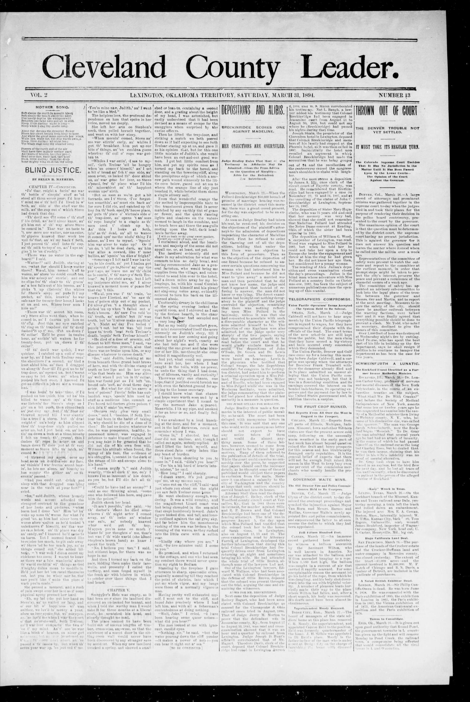 Cleveland County Leader. (Lexington, Okla.), Vol. 2, No. 13, Ed. 1 Saturday, March 31, 1894                                                                                                      [Sequence #]: 1 of 4