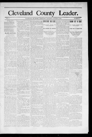 Primary view of object titled 'Cleveland County Leader. (Lexington, Okla.), Vol. 2, No. 13, Ed. 1 Saturday, March 31, 1894'.