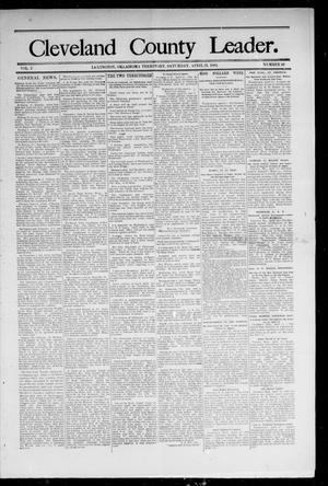 Primary view of object titled 'Cleveland County Leader. (Lexington, Okla.), Vol. 2, No. 16, Ed. 1 Saturday, April 21, 1894'.