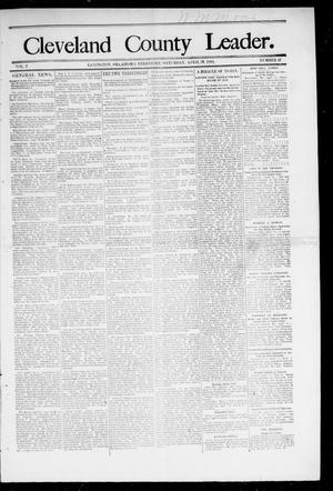 Primary view of object titled 'Cleveland County Leader. (Lexington, Okla.), Vol. 2, No. 17, Ed. 1 Saturday, April 28, 1894'.