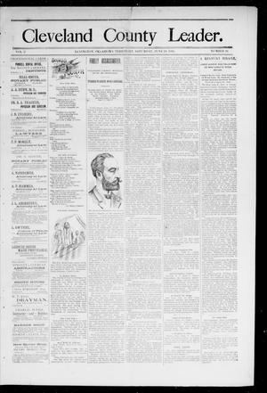 Primary view of object titled 'Cleveland County Leader. (Lexington, Okla.), Vol. 2, No. 26, Ed. 1 Saturday, June 30, 1894'.