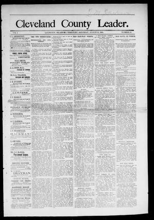 Primary view of object titled 'Cleveland County Leader. (Lexington, Okla.), Vol. 2, No. 33, Ed. 1 Saturday, August 18, 1894'.