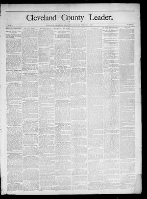 Primary view of object titled 'Cleveland County Leader. (Lexington, Okla.), Vol. 3, No. 6, Ed. 1 Saturday, February 9, 1895'.