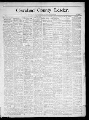 Primary view of object titled 'Cleveland County Leader. (Lexington, Okla.), Vol. 3, No. 7, Ed. 1 Saturday, February 16, 1895'.
