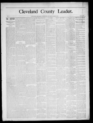 Primary view of object titled 'Cleveland County Leader. (Lexington, Okla.), Vol. 3, No. 9, Ed. 1 Saturday, March 2, 1895'.