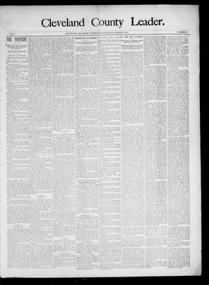 Primary view of object titled 'Cleveland County Leader. (Lexington, Okla.), Vol. 3, No. 10, Ed. 1 Saturday, March 9, 1895'.