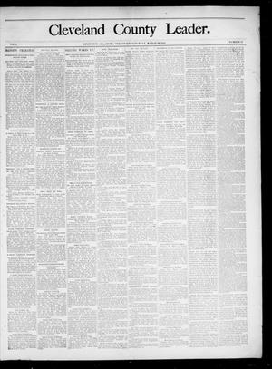 Primary view of object titled 'Cleveland County Leader. (Lexington, Okla.), Vol. 3, No. 11, Ed. 1 Saturday, March 16, 1895'.