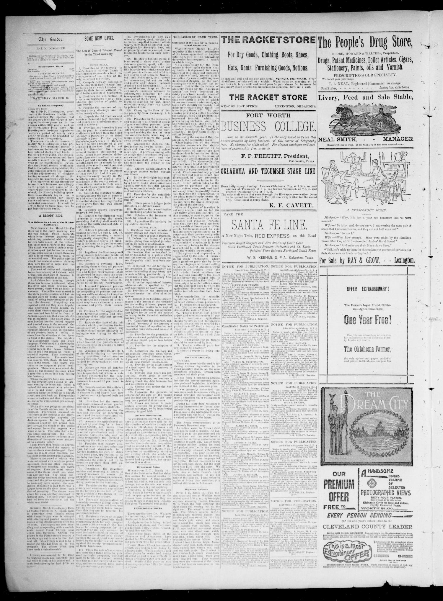 Cleveland County Leader. (Lexington, Okla.), Vol. 3, No. 11, Ed. 1 Saturday, March 16, 1895                                                                                                      [Sequence #]: 2 of 4