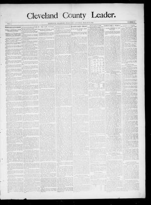 Primary view of object titled 'Cleveland County Leader. (Lexington, Okla.), Vol. 3, No. 13, Ed. 1 Saturday, March 30, 1895'.