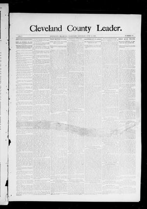 Primary view of object titled 'Cleveland County Leader. (Lexington, Okla.), Vol. 3, No. 24, Ed. 1 Saturday, June 15, 1895'.