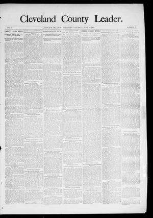 Primary view of object titled 'Cleveland County Leader. (Lexington, Okla.), Vol. 3, No. 25, Ed. 1 Saturday, June 22, 1895'.