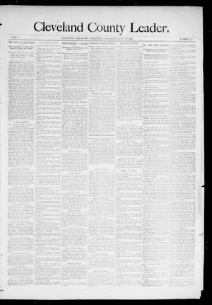 Primary view of object titled 'Cleveland County Leader. (Lexington, Okla.), Vol. 3, No. 29, Ed. 1 Saturday, July 20, 1895'.