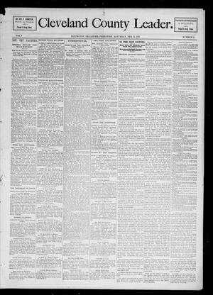 Primary view of object titled 'Cleveland County Leader. (Lexington, Okla.), Vol. 5, No. 11, Ed. 1 Saturday, February 13, 1897'.