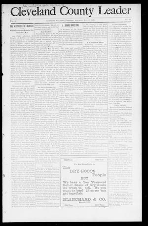 Primary view of object titled 'Cleveland County Leader (Lexington, Okla. Terr.), Vol. 8, No. 41, Ed. 1 Saturday, July 8, 1899'.