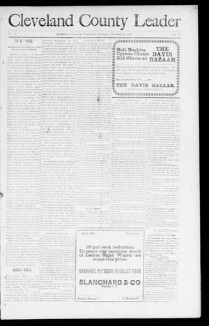 Primary view of object titled 'Cleveland County Leader (Lexington, Okla. Terr.), Vol. 8, No. 50, Ed. 1 Saturday, September 9, 1899'.