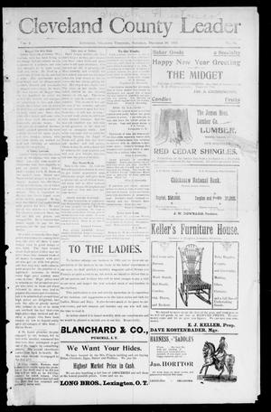 Primary view of object titled 'Cleveland County Leader (Lexington, Okla. Terr.), Vol. 9, No. 13, Ed. 1 Saturday, December 30, 1899'.