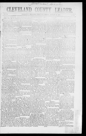 Primary view of object titled 'Cleveland County Leader. (Lexington, Okla. Terr.), Vol. 10, No. 16, Ed. 1 Friday, January 18, 1901'.