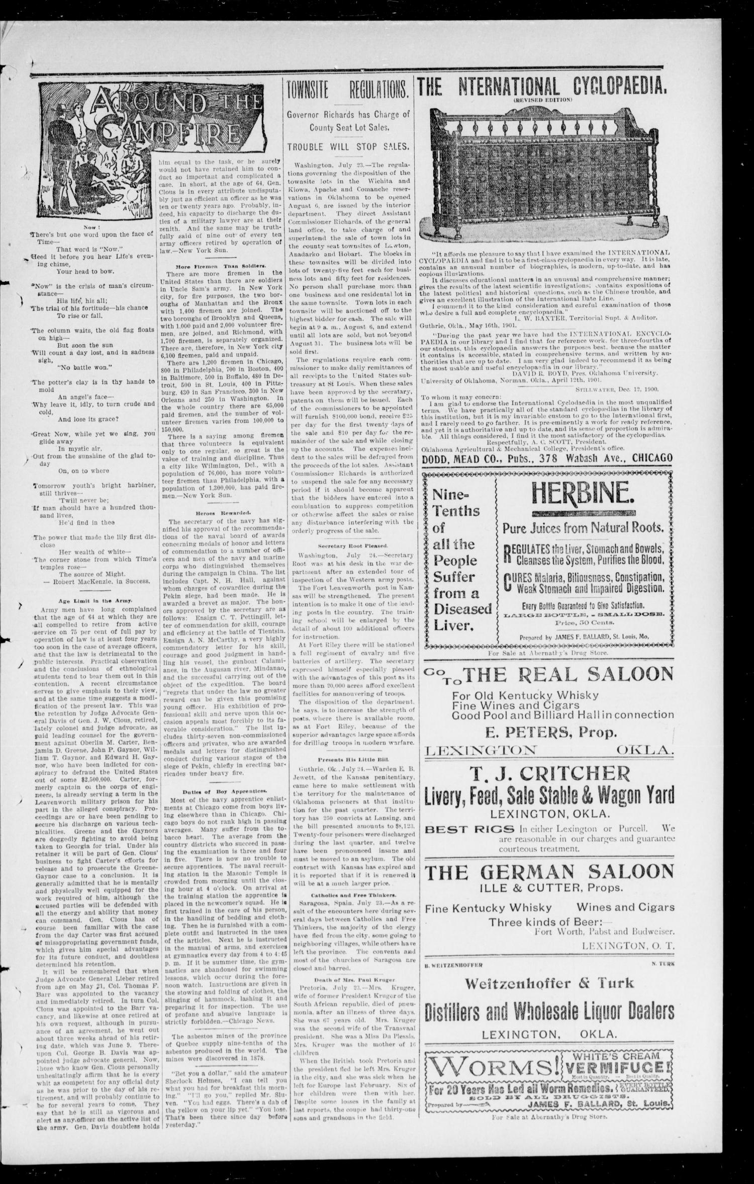 Cleveland County Leader. (Lexington, Okla. Terr.), Vol. 10, No. 42, Ed. 1 Friday, July 26, 1901                                                                                                      [Sequence #]: 3 of 8