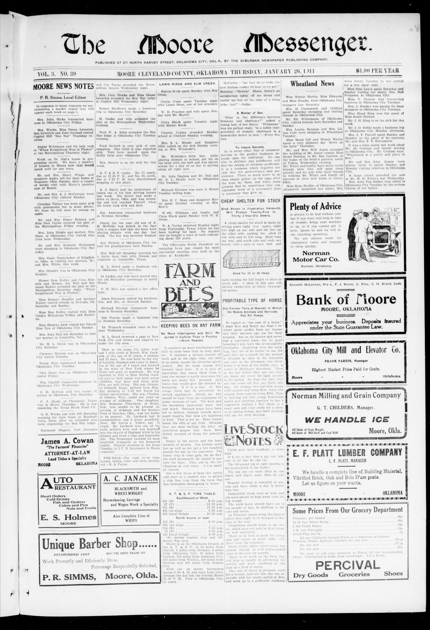 The Moore Messenger. (Moore, Okla.), Vol. 3, No. 39, Ed. 1 Thursday, January 26, 1911                                                                                                      [Sequence #]: 1 of 8