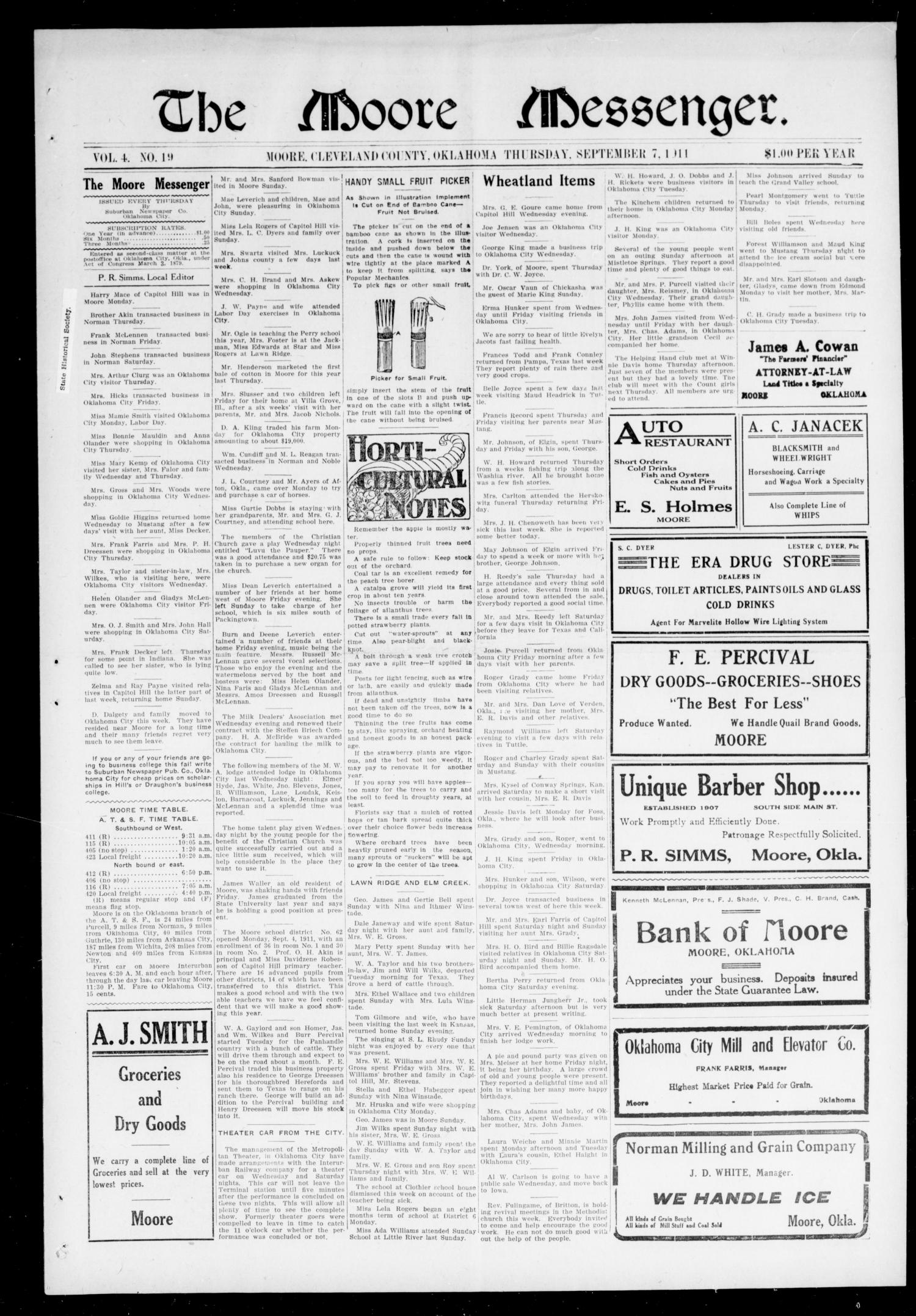 The Moore Messenger. (Moore, Okla.), Vol. 4, No. 19, Ed. 1 Thursday, September 7, 1911                                                                                                      [Sequence #]: 1 of 8