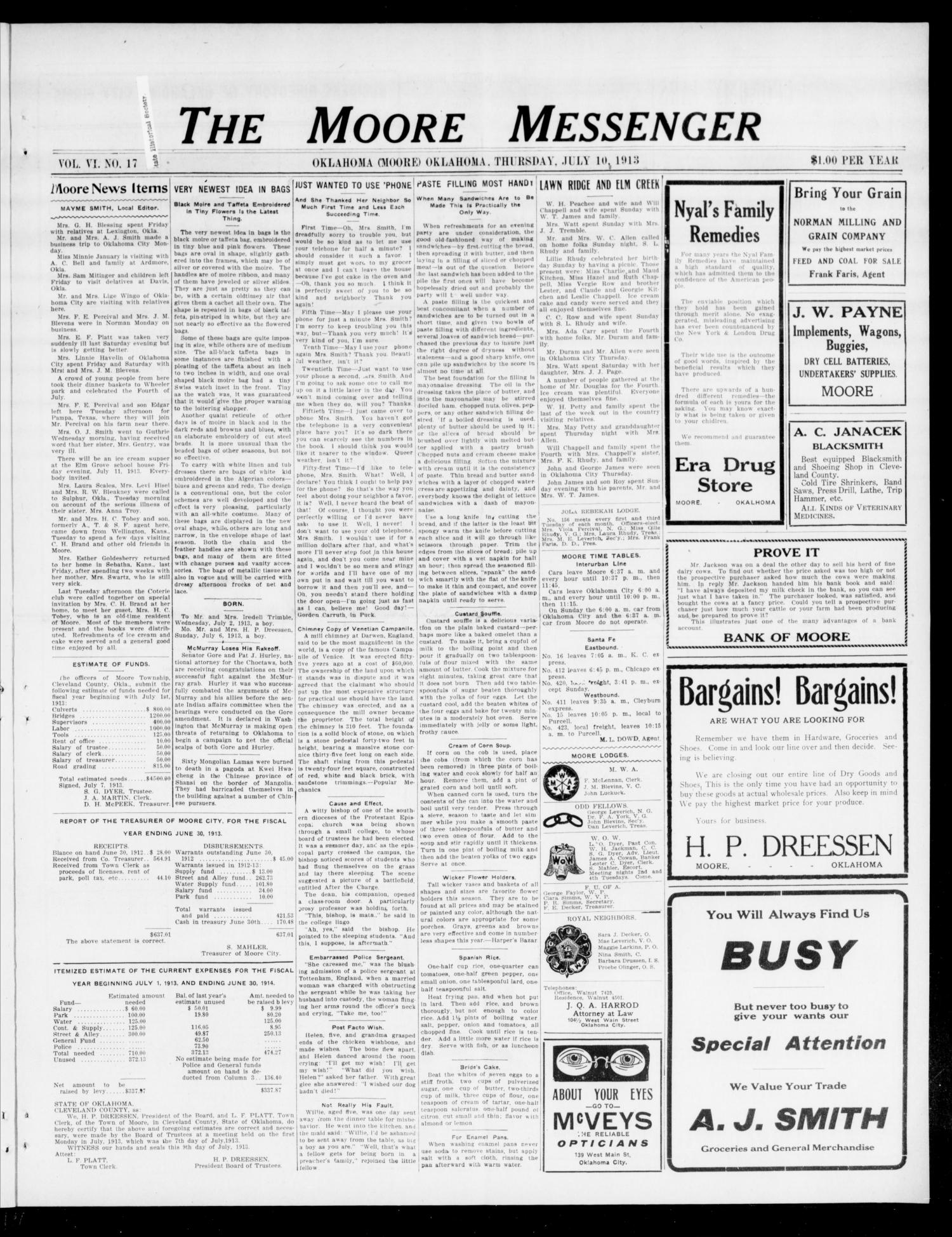 The Moore Messenger (Moore, Okla.), Vol. 6, No. 17, Ed. 1 Thursday, July 10, 1913                                                                                                      [Sequence #]: 1 of 8