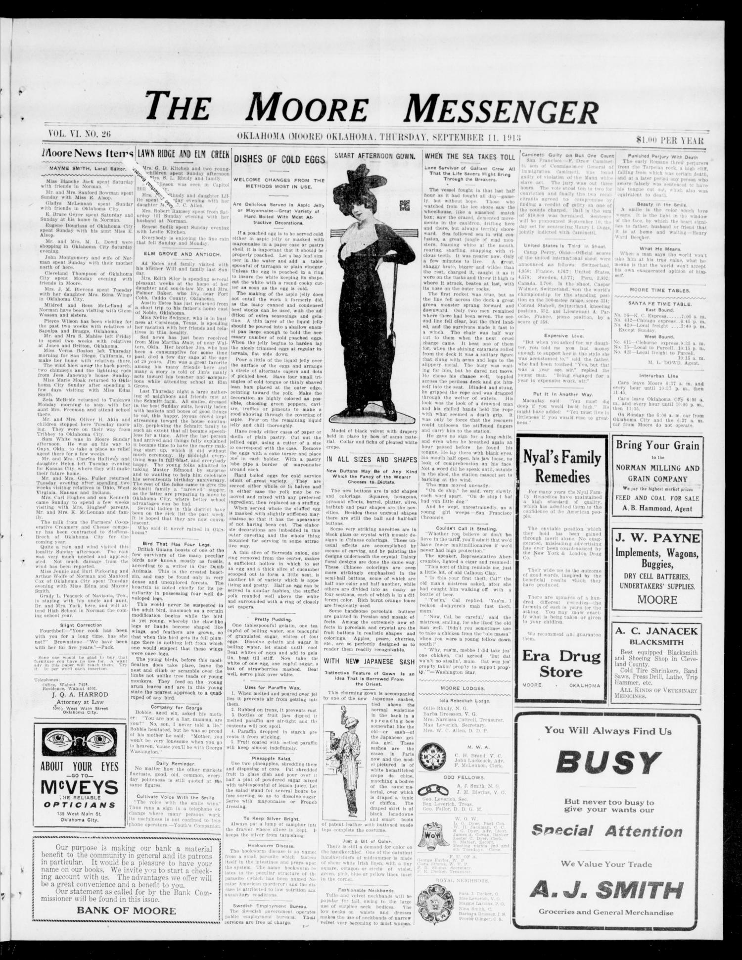 The Moore Messenger (Moore, Okla.), Vol. 6, No. 26, Ed. 1 Thursday, September 11, 1913                                                                                                      [Sequence #]: 1 of 10