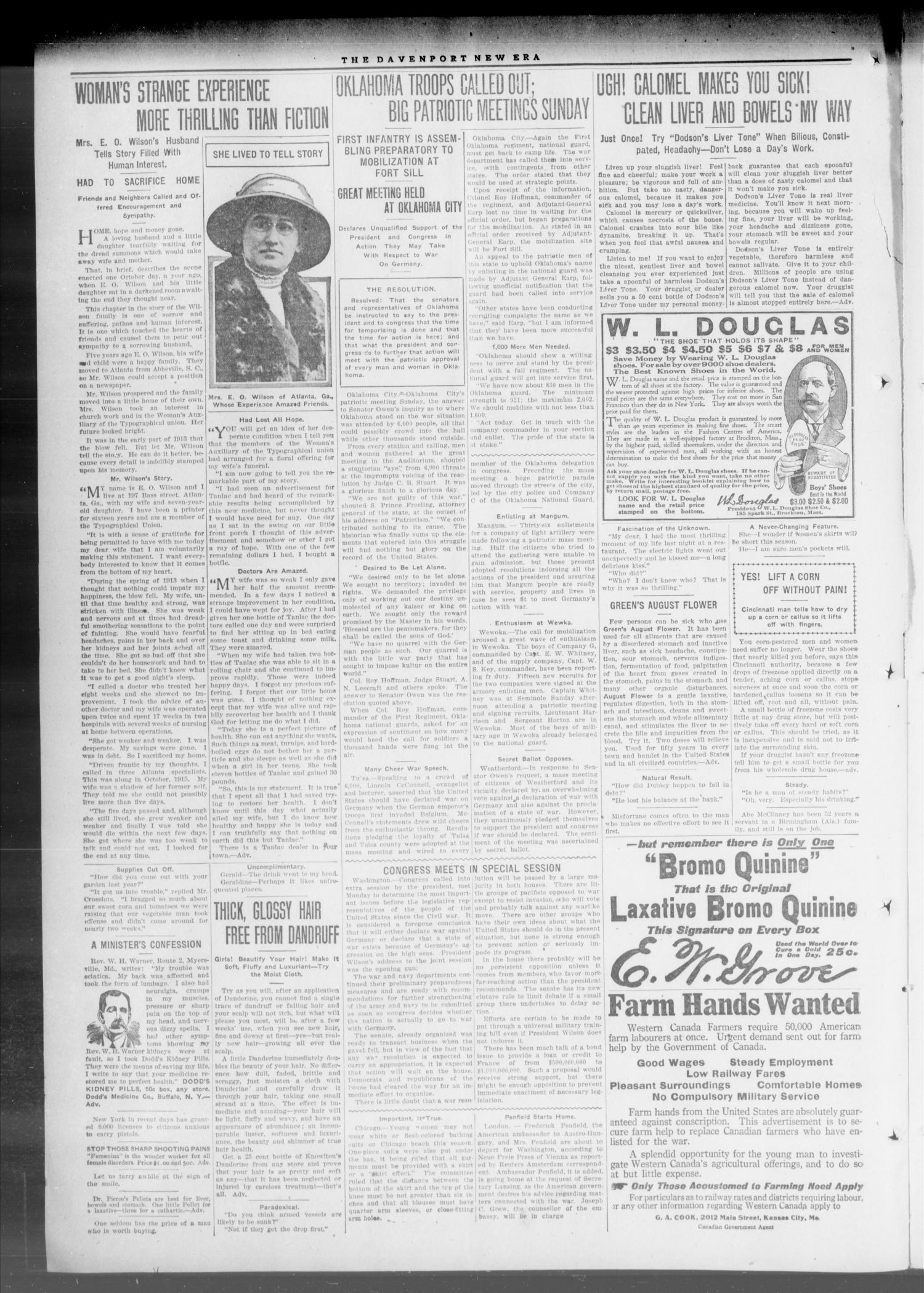 The Davenport New Era (Davenport, Okla.), Vol. 9, No. 8, Ed. 1 Thursday, April 5, 1917                                                                                                      [Sequence #]: 2 of 4